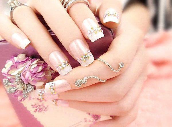 mẫu nail cô dâu đính đá 02