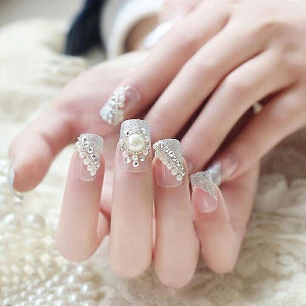 mẫu nail cô dâu đính đá 04