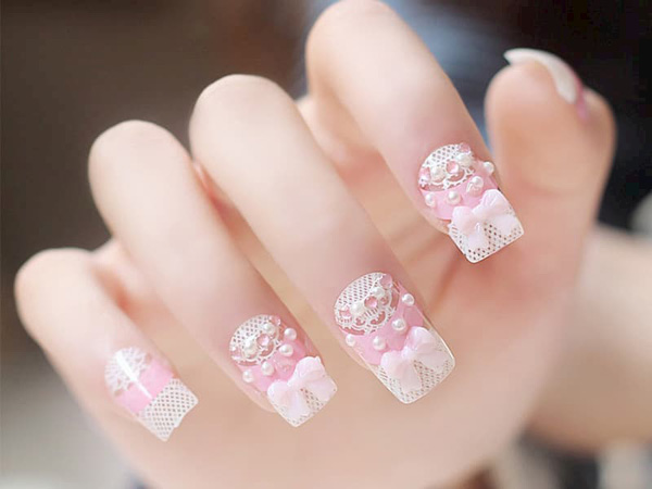 mẫu nail cô dâu đính đá 06