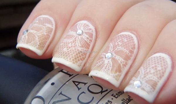 Mẫu nail cô dâu kiểu ren 04