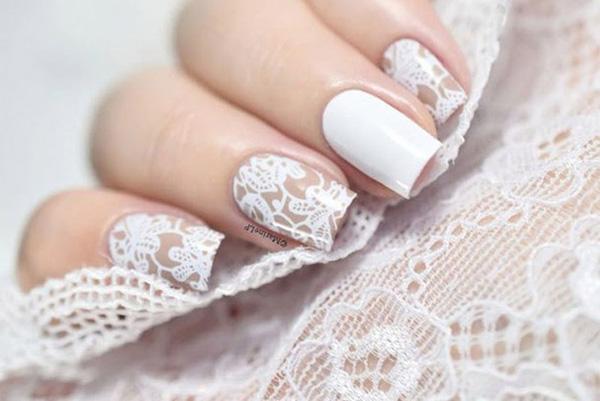 Mẫu nail cô dâu kiểu ren 05