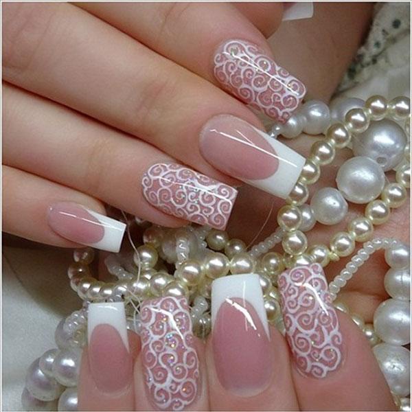 Mẫu nail cô dâu kiểu ren 07