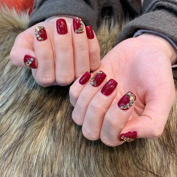 Mẫu nail cô dâu màu đỏ 02