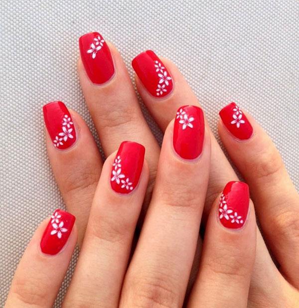 Mẫu nail cô dâu màu đỏ 04