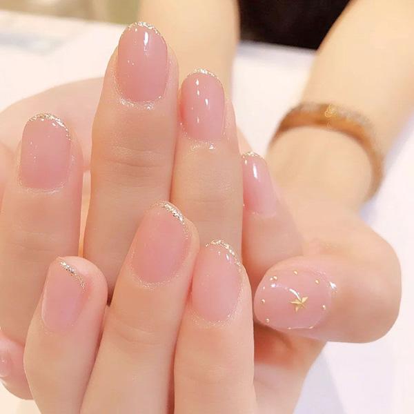 Mẫu nail cô dâu màu hồng 01