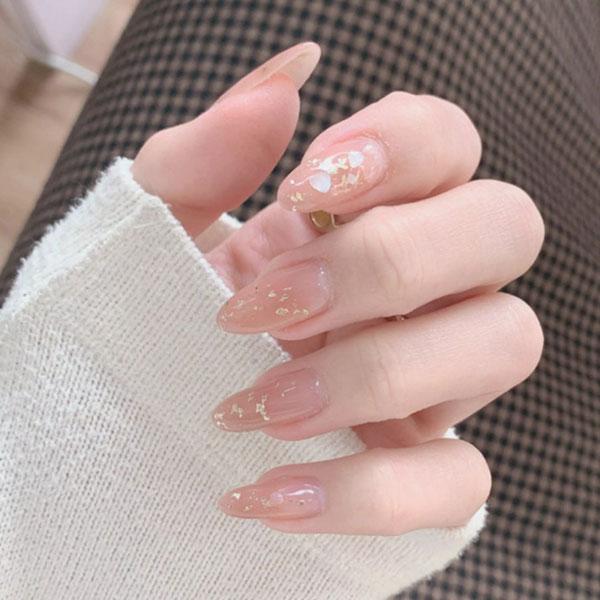 Mẫu nail cô dâu màu hồng 03