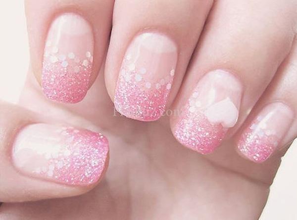 Mẫu nail cô dâu màu hồng 05