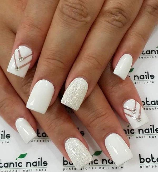 Mẫu nail cô dâu màu trắng 07