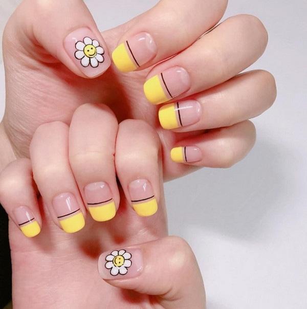 Mẫu nail màu vàng dễ thương 01
