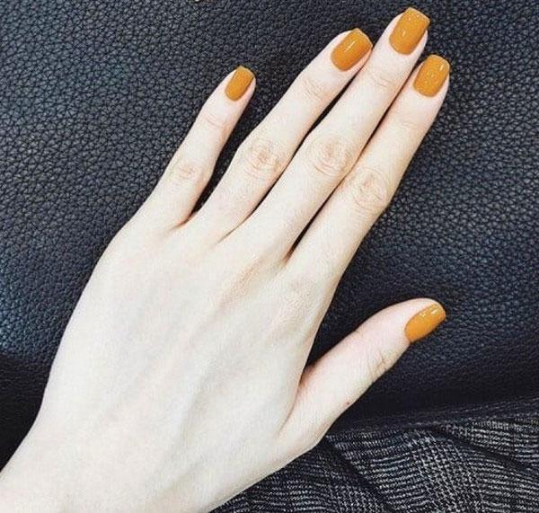 Nail màu vàng nâu 02