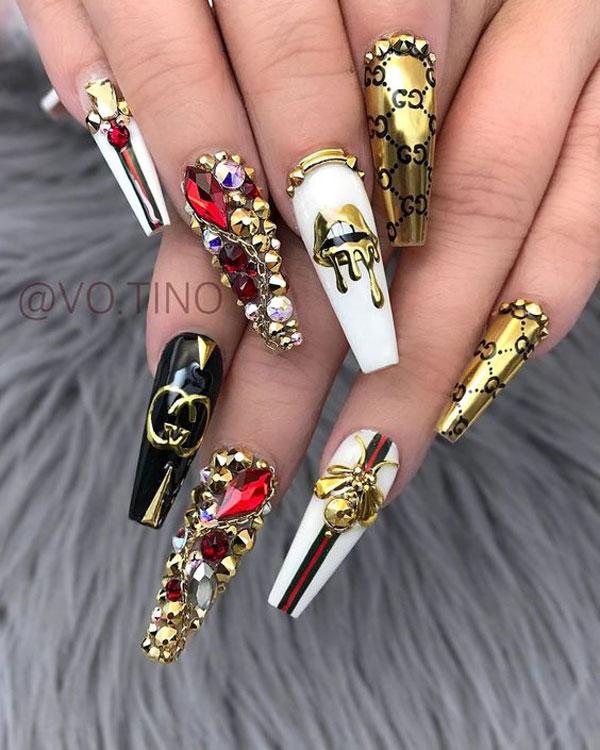 mẫu nail gucci đẹp 31
