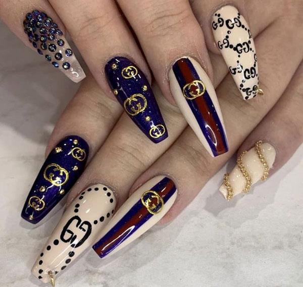 mẫu nail gucci đẹp sang chảnh 016