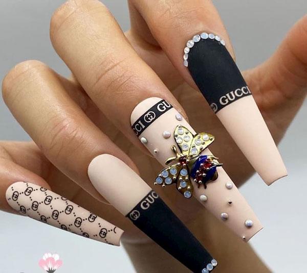 mẫu nail gucci đẹp sang chảnh 018