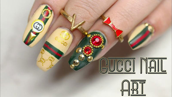 mẫu nail gucci đẹp sang chảnh 028