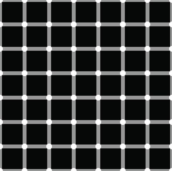 hình ảnh ảo giác: chấm đen chấm trắng di chuyển liên tục