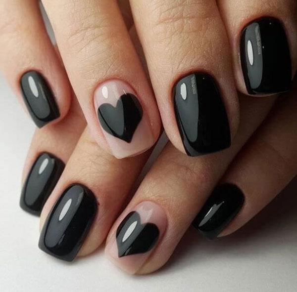 Mẫu nail màu đen bóng 03