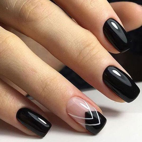 Mẫu nail màu đen bóng 04