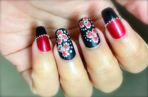 Mẫu nail màu đen đỏ 02
