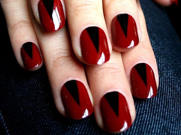 Mẫu nail màu đen đỏ 04