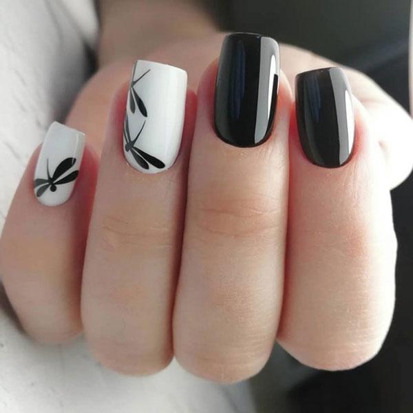 Mẫu nail màu đen trắn 02