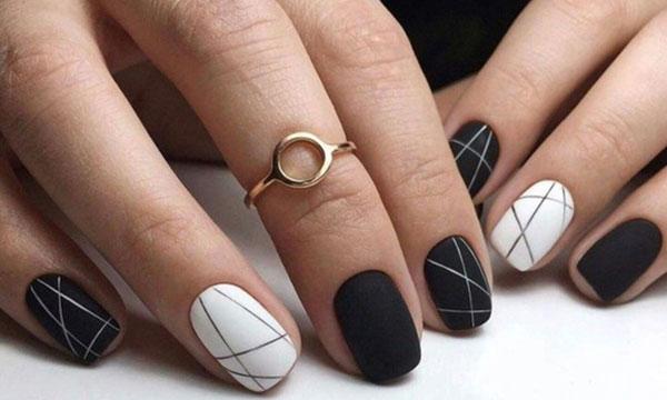 Mẫu nail màu đen trắn 03